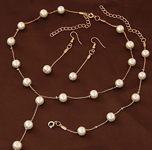 (Faux Pearl Necklace Earring Bracelet Jewelry Set, Delicate and Classy Costume jewelry Favors (Gold) )