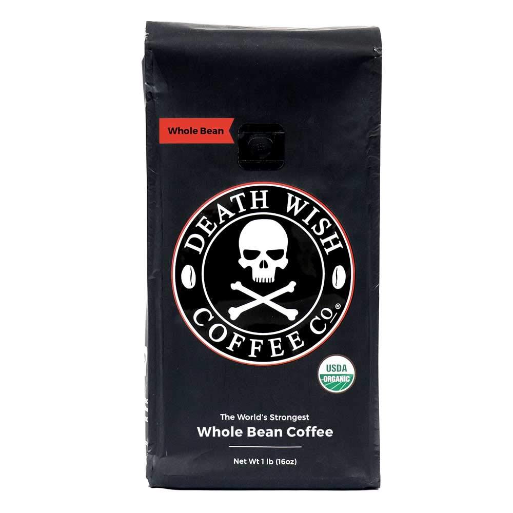 Death Wish Whole Bean Coffee, The World's Strongest Coffee, Fair Trade & USDA Certified Organic - 16 Ounce Bag
