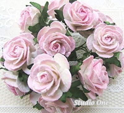 - 100 pcs white&pink Rose Mulberry Paper Flower 20 mm scrapbooking wedding doll house supplies card