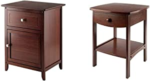 Winsome Wood Eugene Accent Table, Walnut & Wood Claire Accent Table, Walnut