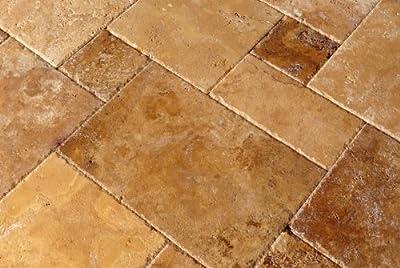 Gold / Yellow Travertine Brushed & Chiseled Versailles Pattern Tile