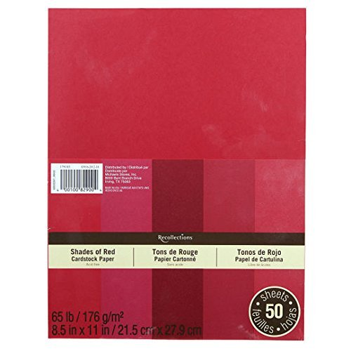 Recollections Cardstock Red 5 Shades 50 Sheets 8.5x11 ()