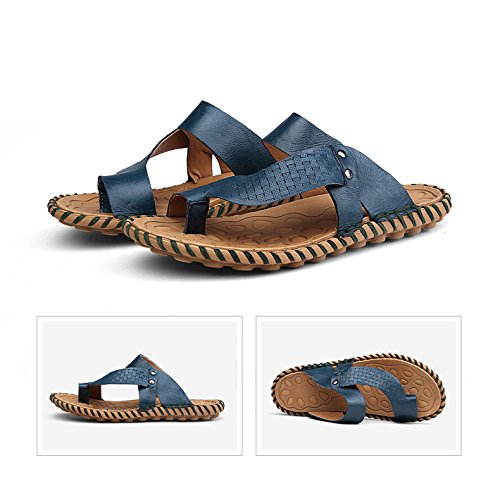 H Flops Flip Soles HanWay Mens amp;W Blue Summer Leather Soft Anti Real Skid 10Zqnd