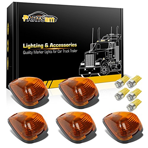 (Partsam 5X Amber Cab Marker Roof Lights 264143AM+ 5X Amber T10 LED Lights Assembly Replacement for 1999-2016 Ford F150 F250 F350 F450 F550)