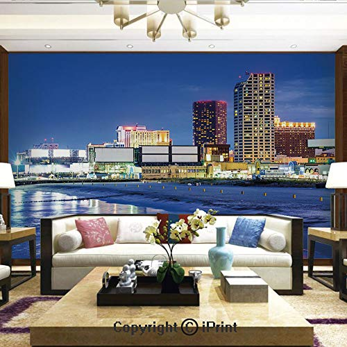 Wallpaper Nature Poster Art Photo Decor Wall Mural for Living Room,Resort Casinos on Shore at Night Atlantic City New Jersey United States,Home Decor - 100x144 - Apocalypse Jersey