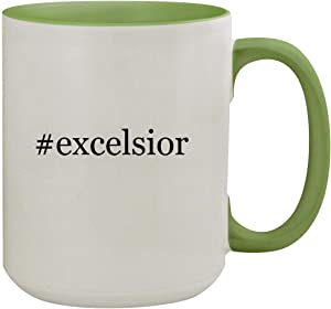#excelsior - 15oz Hashtag Ceramic Inner & Handle Colored Coffee Mug, Light Green