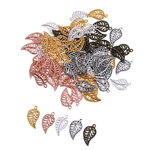Baosity 75Pieces Vintage Hollow Filigree Leaf Charms Pendants Jewelry Findings (Leaf Wing)