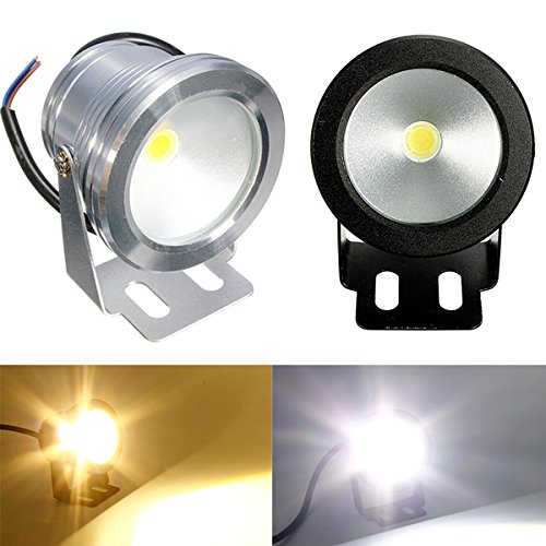 Warm White, silver body : 1pc 10W 12V Waterproof LED Flood Light Underwater Fountain Light Wash Pond Fish Tank Aquarium Light Spot Lamp Outdoor Lighting by Generic