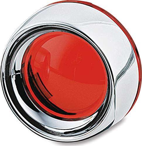 Kuryakyn 2109 Motorcycle Lighting Accessory: Deep Dish Bezel for 2000-19 Harley-Davidson Motorcycles with Bullet Turn Signal/Blinker Lights, Red Lens, Chrome, 1 Pair