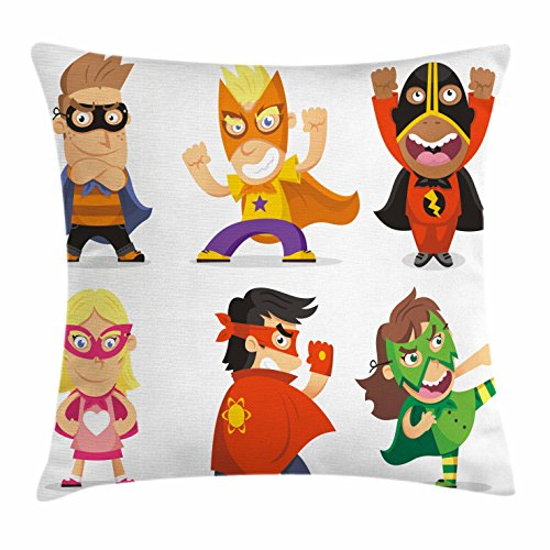 Superhero Throw Pillow Cushion Cover by Ambesonne, Children Dressed as Superheroes Kids Playroom Girls Boys Nursery Babyish Picture, Decorative Square Accent Pillow Case, 16 X 16 Inches, Multicolor