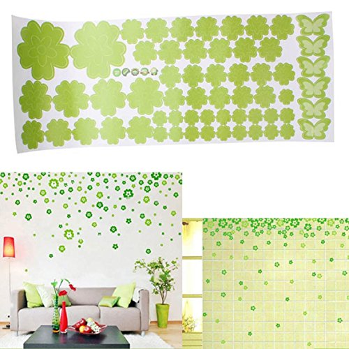 Shensee Beautiful Pure Creative 108PC Flower Wall Art Decal Sticker Removable Mural Home Decor