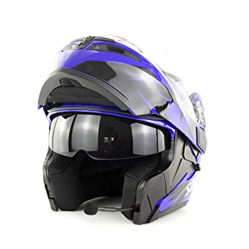 QYXANG Casco Bluetooth Modular Doble Lente Motocicleta Flip up Front Motor Bike Cascos (Blue,