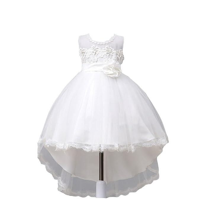 YuanDian Bambine Matrimonio Damigella Tulle Vestiti Pizzo Fiore Trailing  Cerimonia Partito Principessa Cocktail Battesimo Compleanno Sera Abiti 2-10  Anni  ... d94a23d39c5