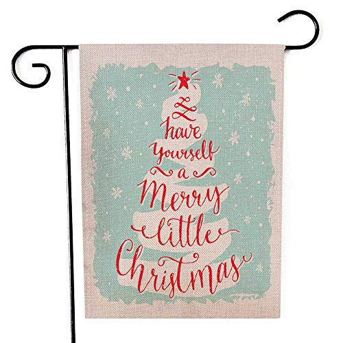 Capsceoll Garden Flag Outdoor 12.5X18 Inch Double Sided Have Yourself Merry Little Christmas Greeting Card Calligraphy in The Shape Xmas Tree Decorative Yard Flag for Autumn Christmas Christmas (Flags Christmas Mailbox)