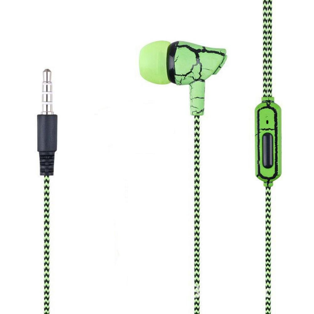 SUKEQ In Ear Earphones, 3.5mm Wired Stereo Crack Headphones Noise Isolating Sport Earbuds Headvy Duty Headset with Mic For MP3 MP4 (green)
