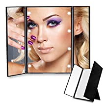 Bigear Tri-Fold Lighted Makeup Mirror, Compact Led Light Table Mirrors Folding Illuminating Travel Mirror with 8 Led Light