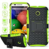 E-weekly(TM) Motorola Moto E Case,Tough Rugged Dual-Layer Case Cover with Kickstand for Motorola Moto E 1st gen(XT1021 / XT1022 / XT1025)with Stylus Pen and Screen Protector(Green)