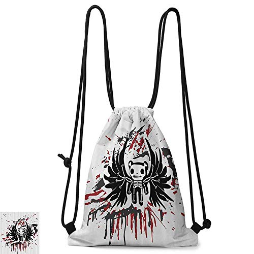 Swimming backpack Halloween Teddy Bones with Skull Face and Wings Dead Humor Funny Comic Terror Design W14