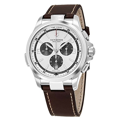 Victorinox Swiss Army Night Vision Silver Face Chronograph Date Mens Brown Leather Swiss Watch ()