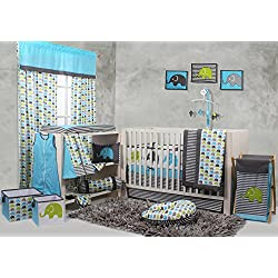 Bacati Elephants Crib Set with Bumper Pad, Aqua/Lime/Grey Boy or girl - unisex
