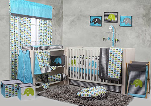 Bacati Elephants Crib Set with Bumper Pad, Aqua/Lime/Grey (Baby Crib Bedding Sets Elephant)