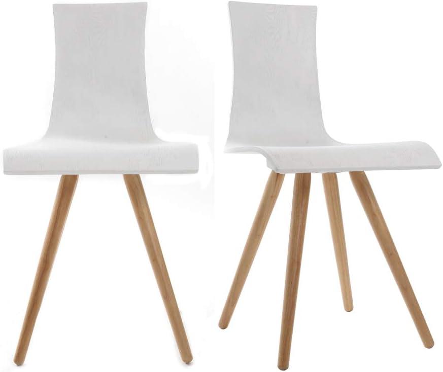 Miliboo Gruppo di due sedie in legno, seduta bianca