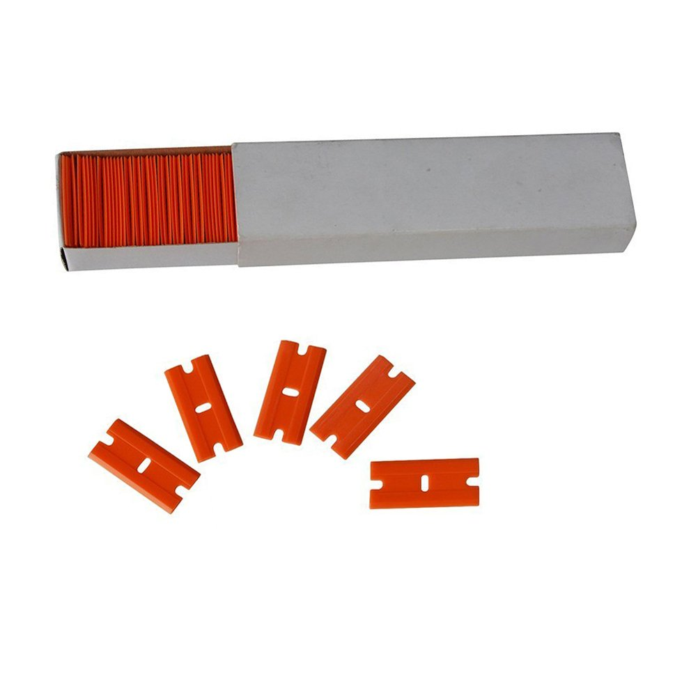 Aoxing Plastic Razor Scrapers Replaceable Double Edge Razor Blades for Removing Labels Stickers Decals and Auto Window Tint