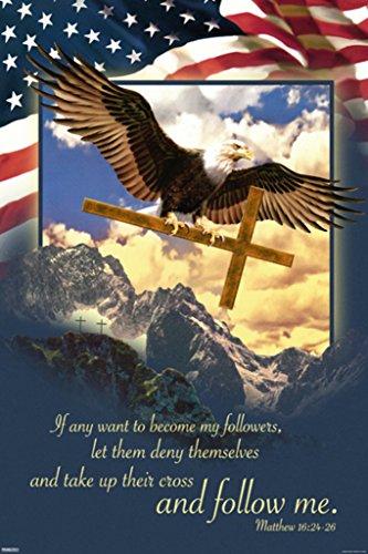 Pyramid America Follow Me Matthew 16 Inspirational Bible Verse Bald Eagle Flag Patriotic Poster 24x36 Inch