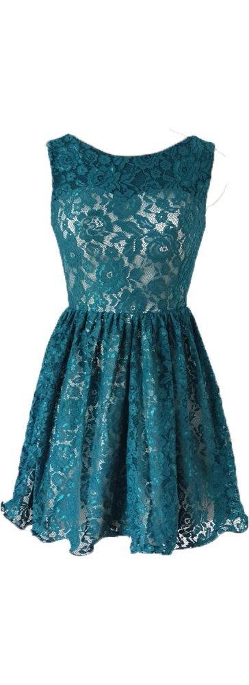 Okaybridal Women's Cheap Boat Neck Sleeveless Backless Short Lace Bridesmaid Dresses