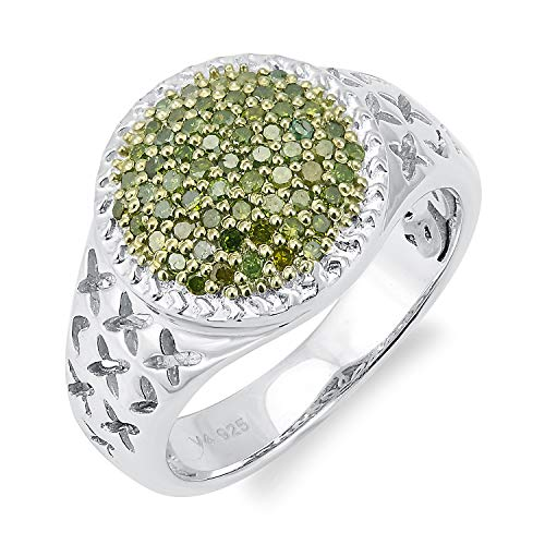 Sterling Silver 0.5ct Green Diamond Dome Ring (I2-I3)