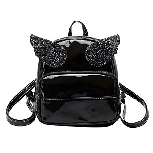 (AIMTOPPY Bags, Fashion Lady Laser Sequin Wings Shoulder Messenger Bag Backpack (free, Black))