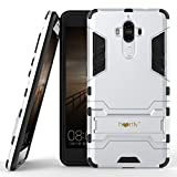 Heartly Huawei Mate 9 Back Cover Graphic Kickstand Hard Dual Rugged Armor Hybrid Bumper Case - Champagne Silver