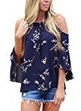 Astylish Women Casual Floral Print Cold Shoulder 3/4 Sleeve Chiffon Blouse Navy Small