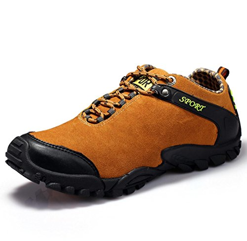 Orange leisure tie non outdoor sports hiking breathable shoes and slip Hiking men's wear shoes leather WSK cut low Men's resistant 42 shoes w7YqxRBT