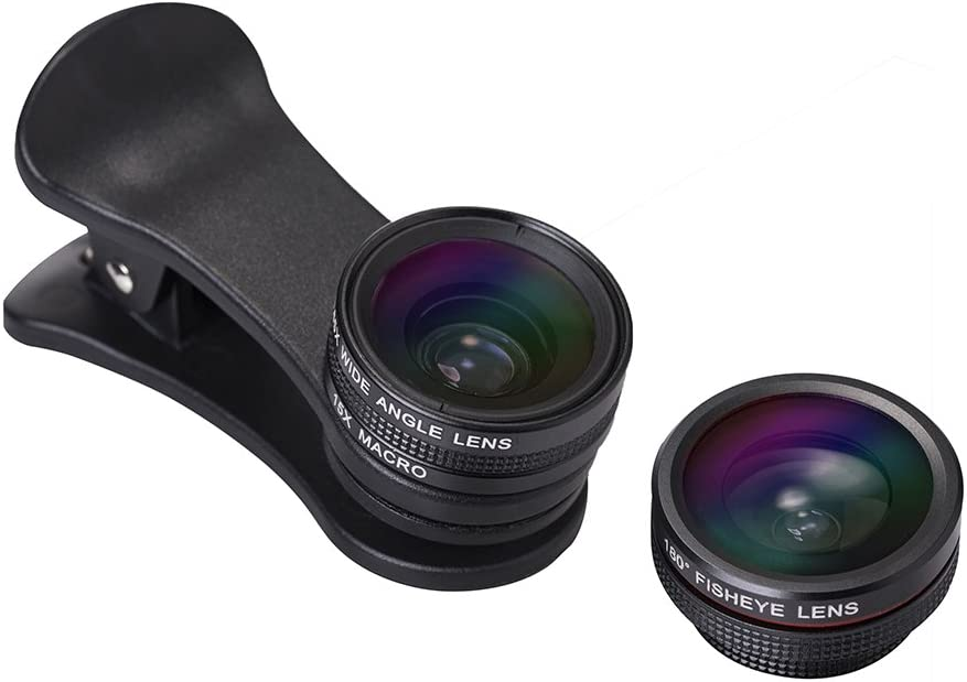 3 في 1 عدة عدسات كاميرا الهاتف الخلوي الخارجية HD 105° 0.65X عدسة زاوية واسعة و 15X عدسة دقيقة و 180° استبدال عدسة عين السمكة للهواتف الذكية