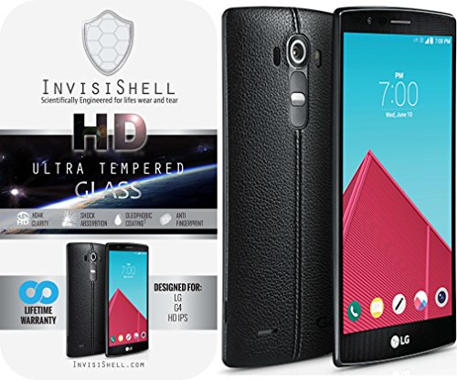 LG G4 Ultra Tempered Glass Screen Protector | Ballistic Slim Anti Scratch Shield w/ Full HD Clarity | Better Cell Phone Accessories by InvisiShell
