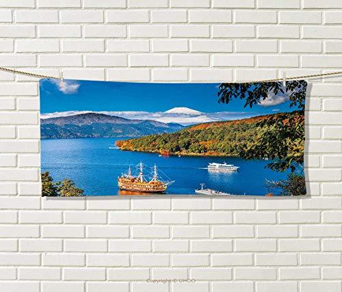 Pirate Ship,Hair Towel,Lake Ashi Mount Fuji Japan Town Hakone Travel Touristic Destination,Quick-Dry Towels,Green Blue Orange Size: W 8'' x L 23.5'' by Anniutwo