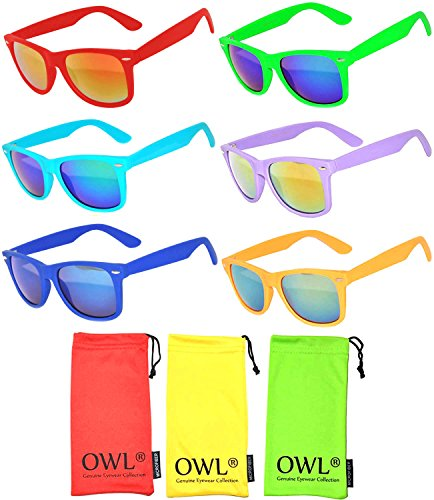 (Wholesale Bulk Colorful Mirror Lens Sunglasses 6 Pack with 3 soft microfiber)