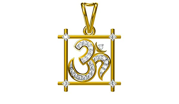 Suhana Jewellery 14K Yellow Gold Plated Fn Alloy Simulated Diamond Studded Religious Pendant Necklace With Chain