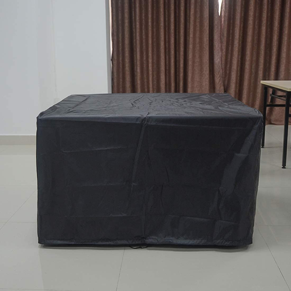 FLR 48in Patio Table Cover Square Black Waterproof Outdoor Dinner Protector Dust-proof Table Desk Cover Furniture Covers with Storage Bags for Garden Outdoor Indoor Furniture