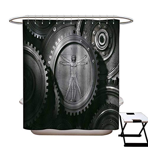 Industrial Mildew Resistant Shower Curtain Liner Wheels of System with Medieval Old Human Body Animation Device Gears of Whole Theme Non Toxic,Rust Proof Grommets Holes -