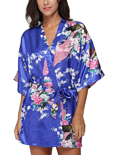 Original Kimono Women's Short Kimono Robe Bathrobe with Peacock Patterns Royal Blue M - Short Kimono Robe