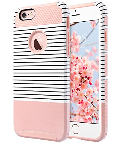 iPhone 6s Case, iPhone 6 Case, ULAK Hybrid Slim Case With Hard PC and Inner TPU Cover for Apple iPhone 6S 4.7 Inch & iPhone 6 4.7 Inch Device (Rose Gold/Pink/Minimal Stripes)