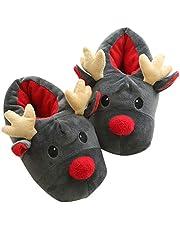 ZOYLINK Kerstpantoffels meisjes pluche pantoffels vakantie eland slip op winter warme binnenpantoffels voor dames