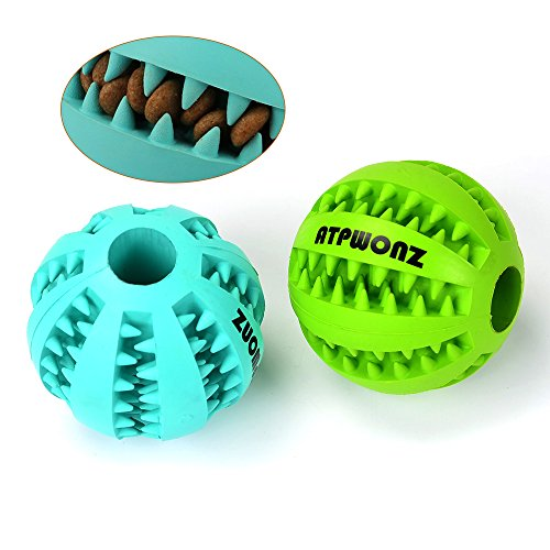 ATPWONZ-Dog-Toy-Ball-Pet-Food-Treat-Feeder-Tooth-Cleaning-Ball-Nature-Rubber-Chew-Training-2-Pack