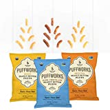 Puffworks Organic Peanut Butter Puffs USDA-Organic - Kosher - Non-GMO - Gluten-Free - (Variety Pack, 12 Single Serve Bags)