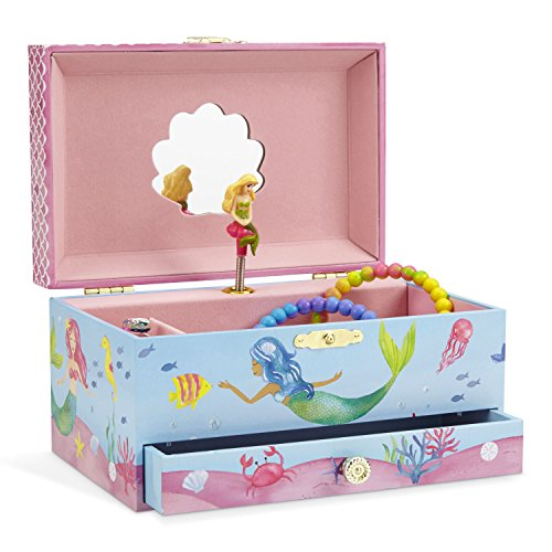 JewelKeeper Mermaid Musical Jewelry Box, Underwater Design with Pullout Drawer, Over the Waves Tune