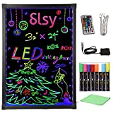 """Slsy Illuminated LED Message Writing Board Erasable Neon Effect Menu Sign Board with 8 Fluorescent Makers,12Colors Flashing Modes,Remote Control Message Board (32''X24"""")"""