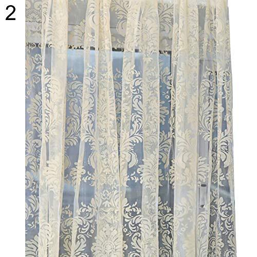yanQxIzbiu Window Curtains, Sheer Curtain 100 x 200cm European Style Flower Sheer Door Room Divider Drape Window Curtain - Beige