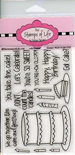 Wedding Cake or Birthday Scrapbooking Stamps for Card Making by The Stamps of Life - Cake2Stamp Sentiments